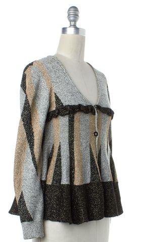 3.1 PHILLIP LIM Multi-color Metallic Striped Wool Cardigan Size S