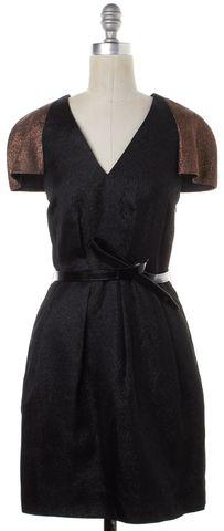 3.1 PHILLIP LIM Metallic Black Bronze V-Neck Fit Flare Dress Size 4