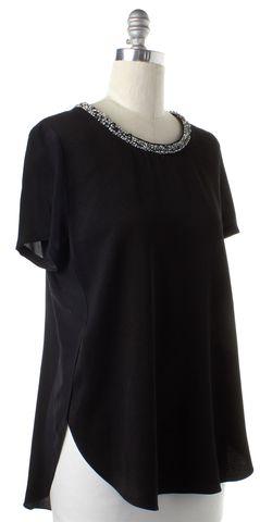 3.1 PHILLIP LIM Black Silk Embellished Collar Blouse Size 10