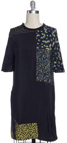 3.1 PHILLIP LIM Black Floral Silk Shift Dress Size 4
