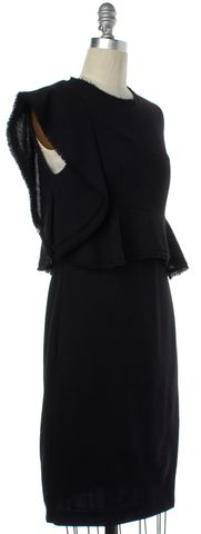 3.1 PHILLIP LIM Black Wool Asymmetrical Sleeve Blouson Dress Size 2