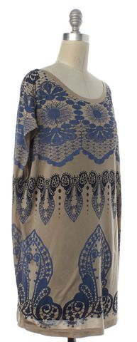 3.1 PHILLIP LIM Beige Blue Multi Geometric Silk Sheath Dress Size S