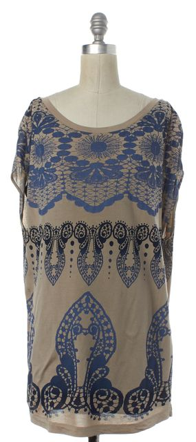 3.1 PHILLIP LIM Beige Blue Multi Geometric Silk Sheath Dress