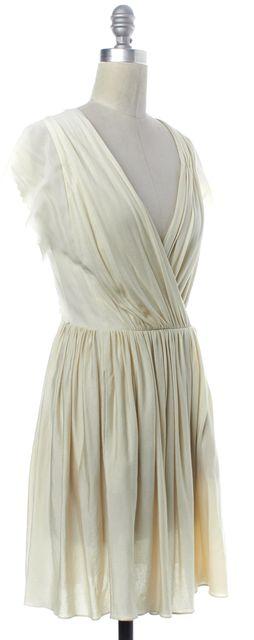 3.1 PHILLIP LIM Ivory Pleated V-Neck Sheath Dress