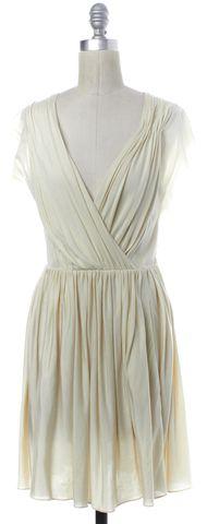 3.1 PHILLIP LIM Ivory Pleated V-Neck Sheath Dress Size XS