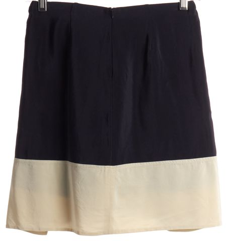 3.1 PHILLIP LIM Blue Ivory Colorblock Silk Pleated Skirt Size 2