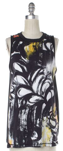 3.1 PHILLIP LIM Black White Multi Abstract Tank Top Size S