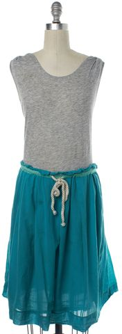 3.1 PHILLIP LIM Gray Turquoise Belted Dress Size 6