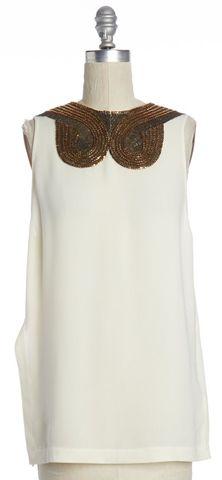 3.1 PHILLIP LIM Ivory Beaded Embellished Silk Blouse Size S