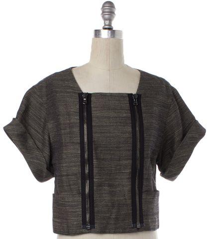 3.1 PHILLIP LIM Black Linen Short Sleeve Zip Up Cropped Basic Jacket Size 0