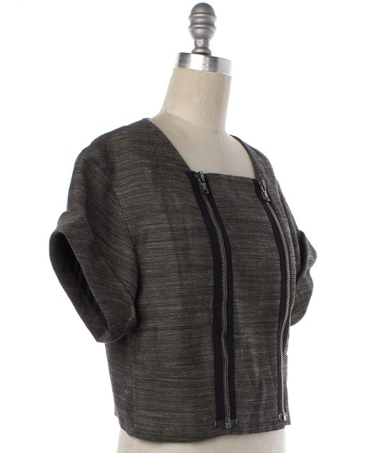 3.1 PHILLIP LIM Black Linen Short Sleeve Zip Up Cropped Basic Jacket
