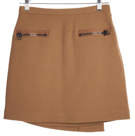 3.1 PHILLIP LIM Brown Wool Wrap Skirt Size 2