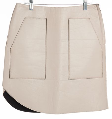 3.1 PHILLIP LIM NEW Beige Leather Straight Skirt Size 2