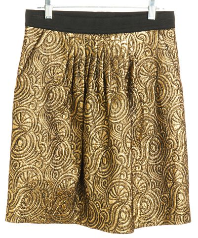 3.1 PHILLIP LIM Black Gold Abstract Jacquard Straight Skirt Size 2