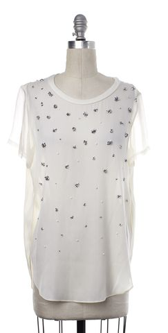 3.1 PHILLIP LIM White Embellished Crew Neck Top