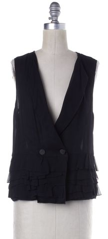 3.1 PHILLIP LIM Black Silk Ruffled Vest Top