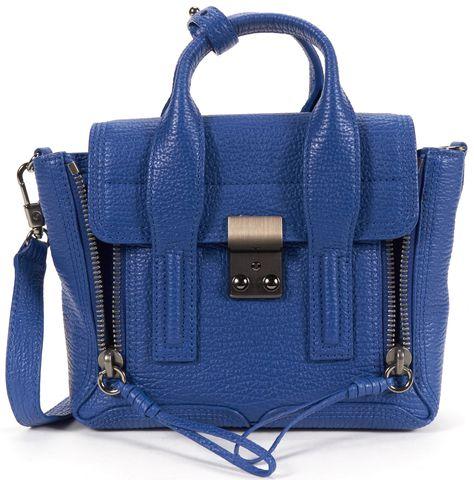 3.1 PHILLIP LIM NEW Cerulean Blue Grain Leather Pashli Mini Satchel Bag