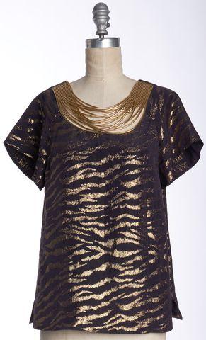 3.1 PHILLIP LIM Purple Metallic Gold Animal Print Silk Blouse Size 2