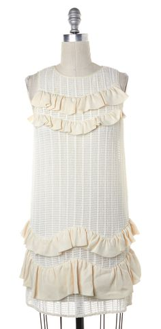 3.1 PHILLIP LIM Ivory Sleeveless Pleated Tiered Shift Dress