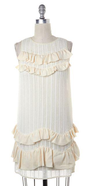 3.1 PHILLIP LIM Ivory Sleeveless Pleated Tiered Shift Dress