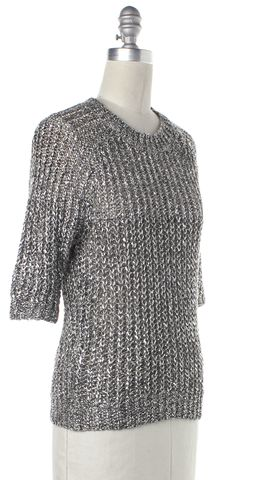 3.1 PHILLIP LIM Silver Linen Open Knit Top