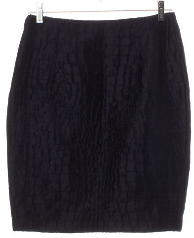 3.1 PHILLIP LIM Navy Blue Textured Linen Pencil Skirt