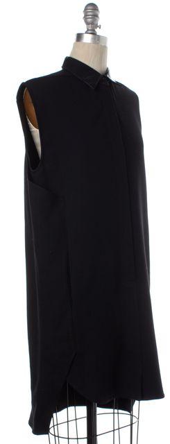 3.1 PHILLIP LIM Black Patent Leather Collar Button Down Shirt Dress