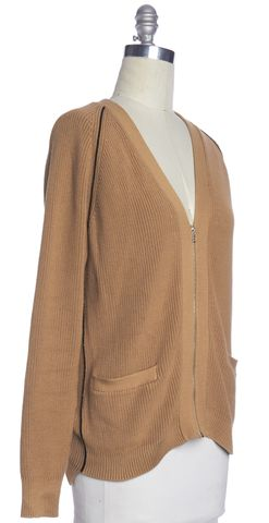 3.1 PHILLIP LIM Brown Ribbed Cotton Knit Zip Up Cardigan Sweater