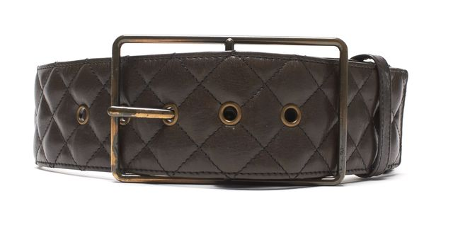3.1 PHILLIP LIM Brown Quilted Leather Wide Belt