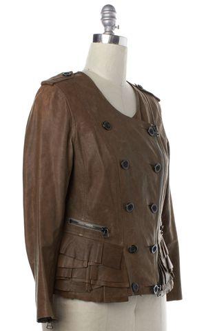 3.1 PHILLIP LIM Brown Leather Zip Up Moto Jacket Size 10