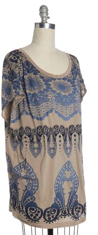 3.1 PHILLIP LIM Beige Blue Ornate Print Silk Top