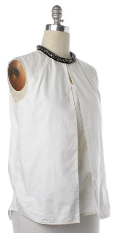 3.1 PHILLIP LIM White Embellished Neckline Layered Sleeveless Shirt