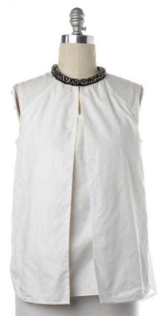 3.1 PHILLIP LIM White Embellished Neckline Layered Sleeveless Shirt