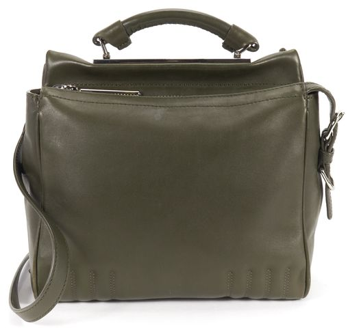 3.1 PHILLIP LIM Dark Olive Green Leather Small Ryder Satchel Top Handle Bag