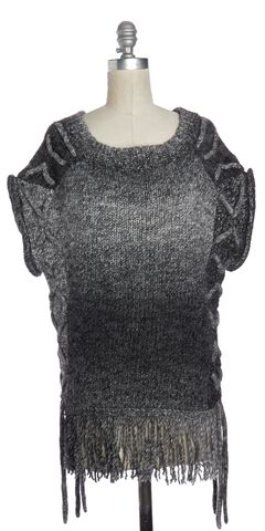 3.1 PHILLIP LIM Gray White Ombre Wool Cable Knit Oversized Sweater