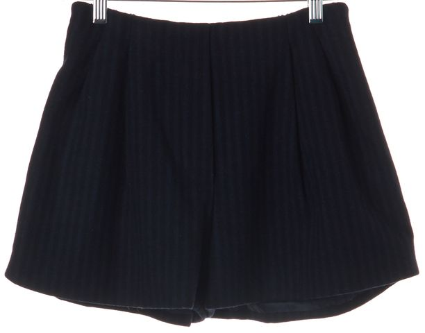 3.1 PHILLIP LIM Blue Black Striped Wool Dress Shorts