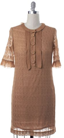 3.1 PHILLIP LIM Beige Lace Short Sleeve Ruffled Collar Shift Dress