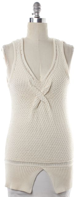 3.1 PHILLIP LIM Ivory Knit V Neck Top