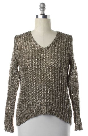 3.1 PHILLIP LIM Gold Metallic Linen Open Knit V-Neck Sweater
