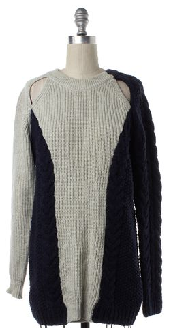 3.1 PHILLIP LIM Navy Blue Gray Colorblock Cable Knit Crewneck Sweater
