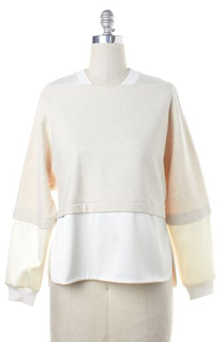 3.1 PHILLIP LIM Beige Ivory Layered Crewneck Sweater