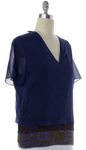 3.1 PHILLIP LIM Navy Blue Silk V-Neck Blouse