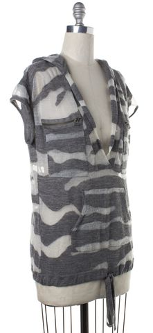 3.1 PHILLIP LIM Gray White Striped Loose Knit V-Neck Sweater