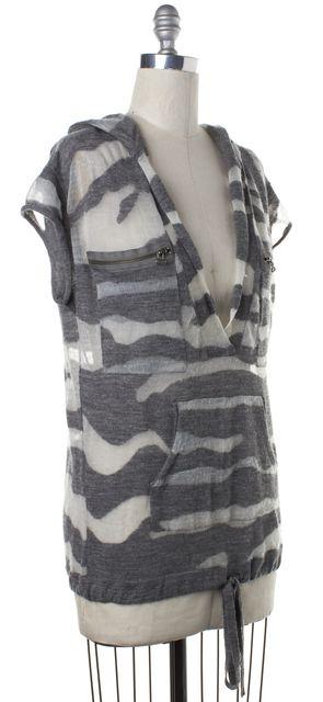 3.1 PHILLIP LIM Gray White Striped Loose Knit V-Neck Sweater