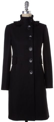 3.1 PHILLIP LIM Black Wool Ruffle Button Down Coat