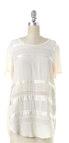 3.1 PHILLIP LIM Ivory Striped Semi Sheer Silk Blouse