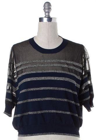 3.1 PHILLIP LIM Navy Blue Metallic Striped Knit Top