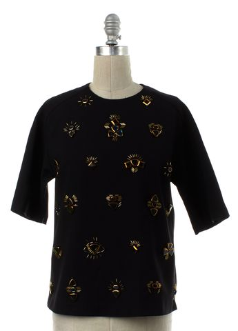3.1 PHILLIP LIM Black Jewel Embellished Top