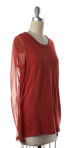 3.1 PHILLIP LIM Rust Orange Sheer Top