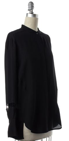 3.1 PHILLIP LIM Black Silk Long Sleeve Button Down Shirt Top